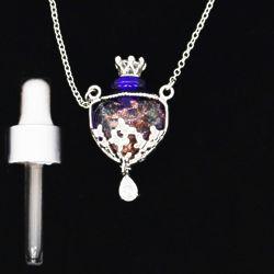 Venezia Bottle Heart Diffuser Necklace in Blue