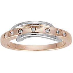 Pink & White Gold Diamond Ring in 14K Gold