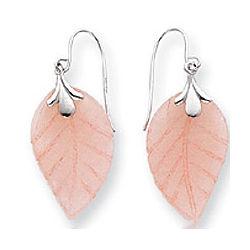14k White Gold Leaf Rose Quartz Drop Earrings