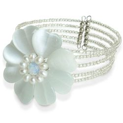 """Pearly Blossom"" Pearl Wrap Bracelet"