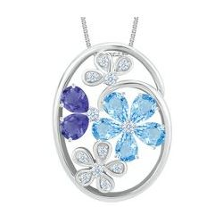Blue Topaz and Iolite Flower Pendant