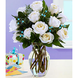 March Birthstone Accented White Rose Bouquet
