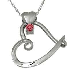 January Birthstone Sterling Silver Heart Slider Pendant
