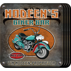 Personalized Coaster Set with Biker Image