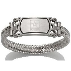 Women's Embossed Stainless Steel Army Bracelet