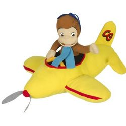 Curious George Riding Plane Plush Stuffed Animal