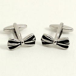 Rhodium Plated Bow Tie Cufflinks