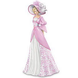 Breast Cancer Awareness Elegant Lady Figurine in Damask Gown