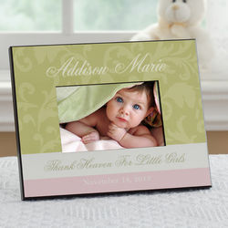 Floral Damask Personalized Baby Picture Frame