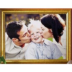 Personalized Framed Photo Canvas Wall Art with Gold Frame