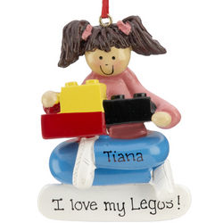 Personalized Lego Building Blocks Girl Christmas Ornament