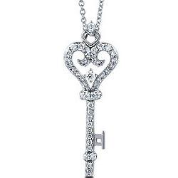 Sterling Silver CZ Heart Shape Key Pendant Necklace