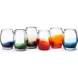 Colored Bottom Stemless Blown Glass Goblets