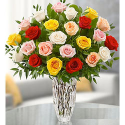 Marquis by Waterford Vase with Premium Assorted Roses