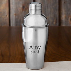 Personalized Compact Stainless Steel Cocktail Shaker