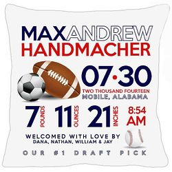 New Baby's Personalized Birth Announcement Sports Pillow