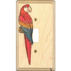 Scarlet Macaw Wood Switchplate