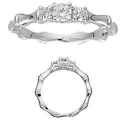 Three Stone 1/3 Ct Diamond and Gold Bamboo Style Ring