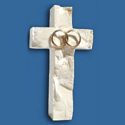 Small Wedding Wall Jerusalem Stone Cross with Gold Rings