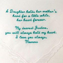 A Daughter/Son Holds a Mother's Heart Personalized Hanky