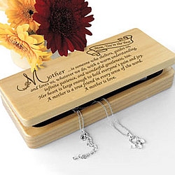 Personalized What It Means To Be a Mother Wooden Jewelry Box
