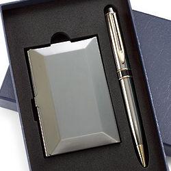 Gun Metal Pen & Business Card Case Gift Set