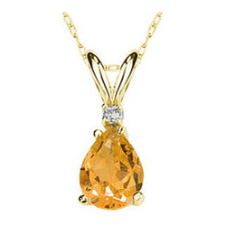 Pear Citrine and Diamond Stud Pendant in 14K Yellow Gold