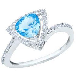 Trillion Cut Blue Topaz Ring