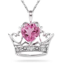 Pink Topaz and Diamond Crown Heart Pendant in 10K White Gold