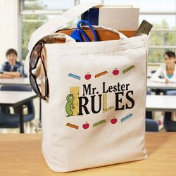 My Teacher Rules Personalized Tote