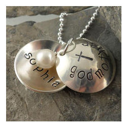 Personalized Godmother Locket Hand Stamped Necklace