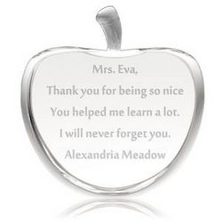 Personalized Crystal Apple Award for Teachers