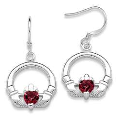 Sterling Silver January Birthstone Claddagh Earrings