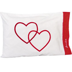 Personalized Double Hearts Valentine Pillowcases