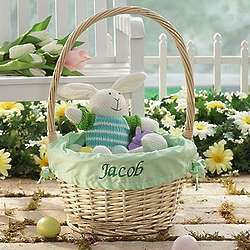 Personalized Jumbo Easter Basket with Lime Green Liner