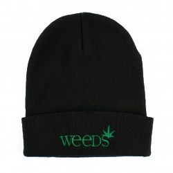 Weeds Black Embroidered Beanie