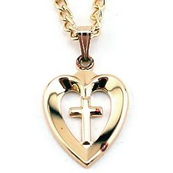 Gold-Plated Heart and Cross Pendant