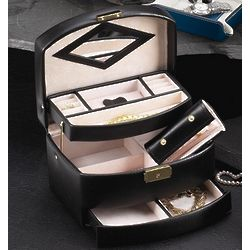 Tri Level Black Leather Jewelry Box