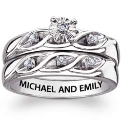 Engraved Sterling Silver 2-Piece Diamond Wedding Ring Set