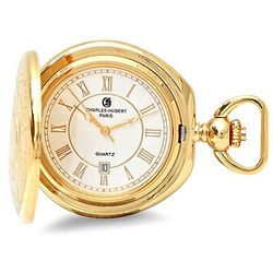 Polished Gold Quartz Pocket Watch and Chain