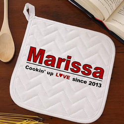 Cookin' Up Love Personalized Potholder