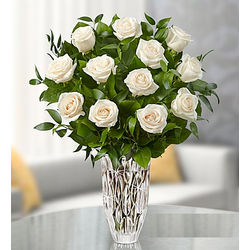 Marquis by Waterford Vase with Premium White Roses