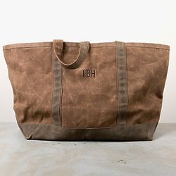 Personalized St. Christopher Waxed Canvas Tote