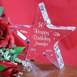 Personalized Happy 50th Birthday Star Keepsake