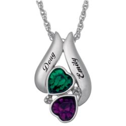 Sterling Silver Couple's Name & Birthstone True Hearts Pendant