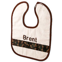 Personalized Baby Bib with Camouflage Ribbon Accent