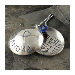 Grandma's Heart Locket Personalized Hand Stamped Necklace