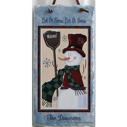 Old Fashioned Snowman Personalized Slate Wall Plaque