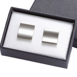 Engraved Shiny Silver Metal Cufflinks