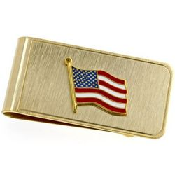 American Flag Engravable Brass Money Clip